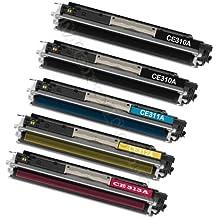 Premium 5Pack–Tóner para HP ColorLaserJet Pro CP 1025CP1025NW M175a HP 126A–HP CE310a, CE 310A, CE311A, CE 311A, CE312A, CE 312A, CE313A, CE 313A/HP LaserJet Pro 100color MFP M 175NW, MFP M175, 126A (1.200Páginas Negro por cada color 1.000páginas C/Y/M)