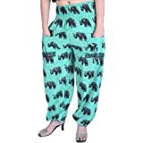 Exotic India Yoga Trousers with Printed Elephants and Front Pockets