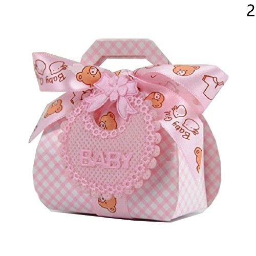 Papier DIY Hochzeitsgeschenk Taufe Baby Shower Party Favor Boxen Pralinenschachtel mit Bib Tag Bänder 12pcs (Rosa) (Band-tag)