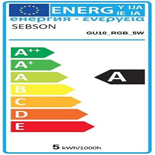 sebson® LED Lampen GU10 RGB Farbwechsel, bunt 15 Farben, dimmbar, 4 Modi, Fernbedienung, warmweiß 2700K, 4er Pack