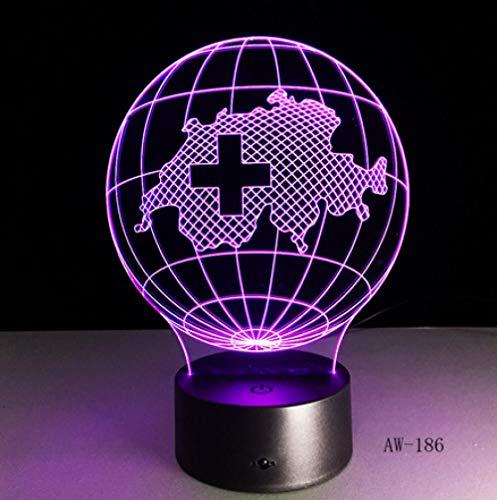 Joplc 3d lampe schweiz karte led nacht kinder illusion tisch baby nachtlicht kind schlafzimmer dekor