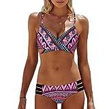 IMJONO.Frauen Böhmen Push-Up gepolsterte BH Beach Bikini Set Badeanzug Bademode(Rosa,X-Large)