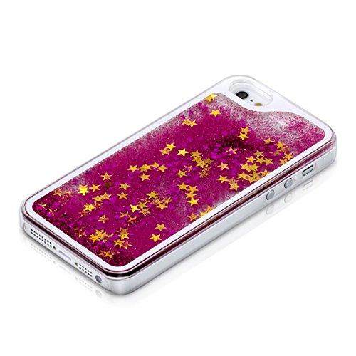 kwmobile Hülle für Apple iPhone SE / 5 / 5S - Hardcase Backcover Case mit Flüssigkeit Handy Schutzhülle - Cover mit Schneekugel Sterne Design in Rosa Transparent Schneekugel Sterne Pink Gold Transparent
