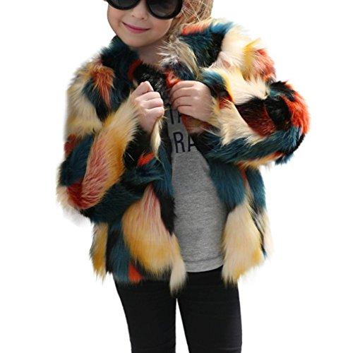 Faux Kaschmir-pullover (Winterjacke Fake Fur Babykleidung Hirolan Kaschmir Pullover Kinder Baby Mädchen Spleißen Faux Pelz Mantel Dick Jacke Warm Gemütlich Outwear Kleider (90cm, Mehrfarbig))