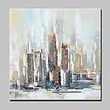 HY&GG 100% Hand-Painted Abstracta Moderna Ciudad Paisaje Pinturas Al Óleo Sobre...