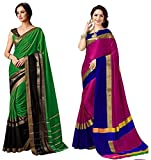 Indira Designer Women's Art Cotton Blend With Blouse Combo OF 02 Sarees
