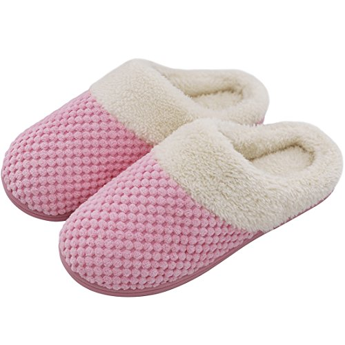 aeb00593a Ladies' Soft Gridding Coral Velvet Short Plush Lining Slip-On Memory Foam  Clog Indoor Slippers (9-10 UK/42-43 EU, Pink). by veracosy