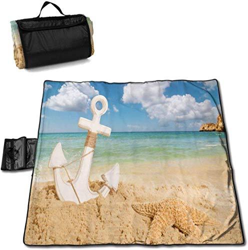 N/A Große wasserdichte Picknickdecke für den Außenbereich mit Anker Seestern, Sommerurlaub, Sandfeste Strandmatte für Camping, Wandern, Gras, Reisen