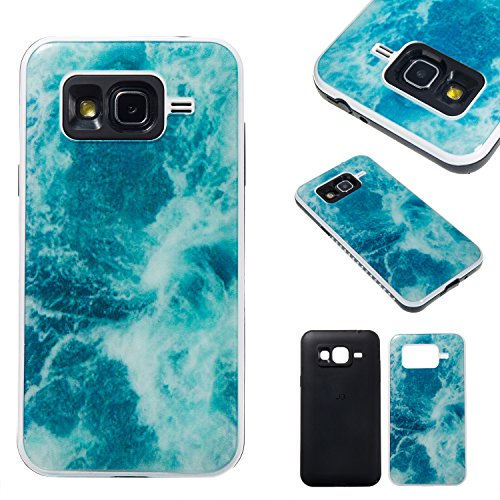 Meet de Samsung Galaxy J3 Coque, Une variété de conceptions de marbre de couleur Combo Hybride Dual Layer TPU +PC Etui Antichoc Robuste Housse Protection Armure Case pour Samsung Galaxy J3(Ocean blue) 4016703144589