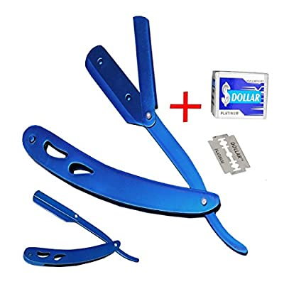 Straight Razor + 10 Disposable Blades for Mens Manual Hair Shaving Cut Throat Open Razor Aqua Blue Professional Barber Quality Stainless Steel Tool