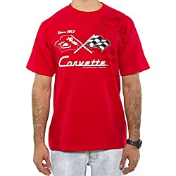 J.H. Design Chevy Corvette Collage - Camiseta para Hombre, Color Rojo