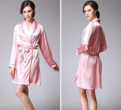 ZC&J Herbst silk Pyjamas Damen festen sexy langärmlige Bademantels,black,XL Pink