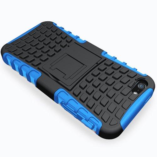 Outdoor Hybrid Case Panzer Tasche Cover Silikon Handytasche Hülle SCHUTZ Schutzhülle Bumper +Gratis Displayschutzfolie für Apple iPhone 5S Schwarz Blau