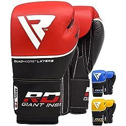 RDX Guantes de Boxeo Kick Boxing Muay Thai Sparring Saco Entrenamiento Adulto Genuine Cuero Vacuno Combate Boxing Gloves