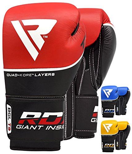 RDX Boxhandschuhe Sparring Rindsleder Training Kickboxhandschuhe Muay thai Sandsackhandschuhe, Rot, Gr. 12 oz