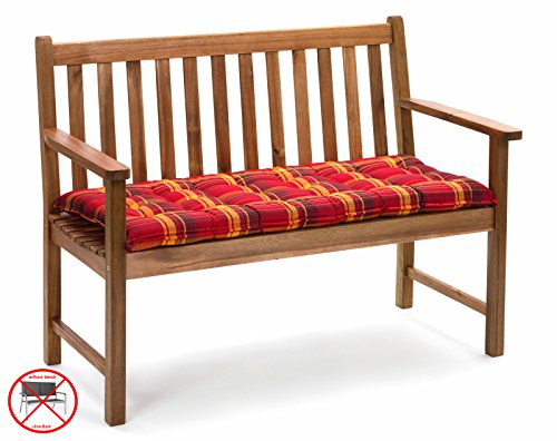 Bankauflagen 140 x 47 cm Ibiza 10174-3 in rot kariert - Auflage ohne Bank