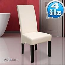 Pack de 4 sillas Osaka blancas de salón comedor de polipiel blanco roto y acolchadas. Nuevo modelo, modernas, alta calidad y económicas. Altura 108cm / Asiento 49x49cm