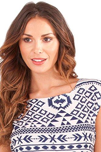 Dannii Matthews - Robe - Plissée - Imprimé Aztèque - Sans Manche - Femme rose rose Blue/White Aztec