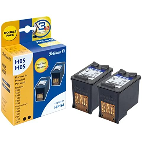 Pelikan 351814 - Pack de 2 cartuchos de tinta para HP 5550(56) recambio (negro, 2 x 19 ml)