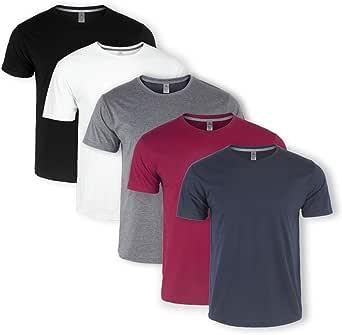 Mens Plain T-Shirts 5 Pack Short Sleeve Crew Neck Sport Tees Cotton Workwear Boys Undershirts Gym Running Workout Tshirts for Men