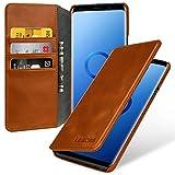 keledes Brieftasche Lederhülle für Samsung Galaxy S9+ (S9 Plus) mit Kreditkarten-Fächern aus Echtem Leder,Handyhülle Flip Case Schutzhülle für Samsung Galaxy S9 Plus, Cognac Braun