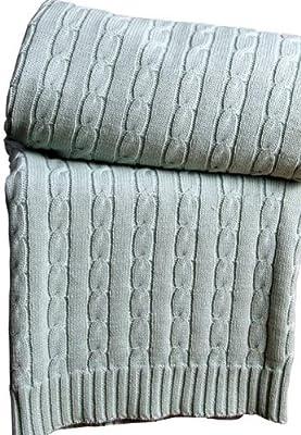 Homescapes Manta cama tradicional de color Azul en 100% Algodon de 130 x 170 cm