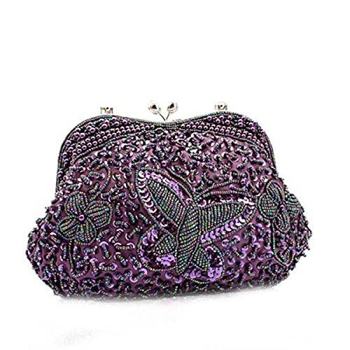 Signore Sacchetto Di Sera Della Signora Della Borsa Farfalla Nuova Borsa Da Sposa Purple