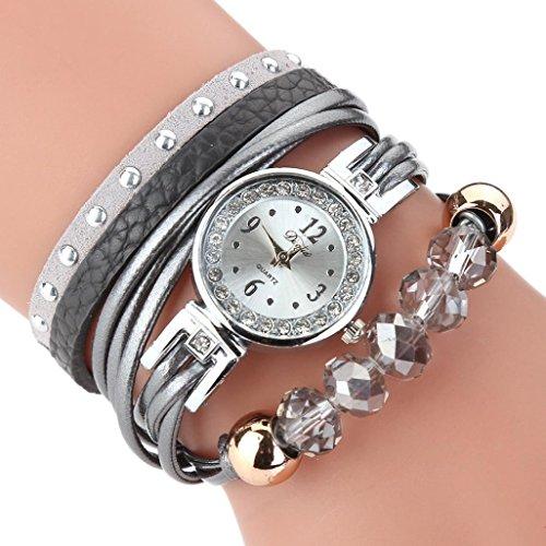 Uhren Damen, HUIHUI Geflochten Armbanduhren Günstige Uhren Wasserdicht Beliebte Casual Analoge Quarz Uhr Luxus Armband Coole Uhren Lederarmband Mädchen Frau Uhr (Grau)
