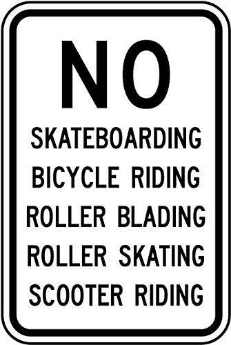 Yilooom Traffic Signs - No Skateboarding Roller Blading Sign Aluminum Sign Metal Sign