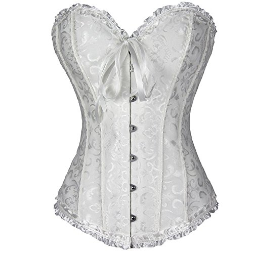 (FeelinGirl Frauen Bridal Wäsche schnürt sich oben Satin ohne Knochen Korsett mit G-Schnur XXL Weiß)