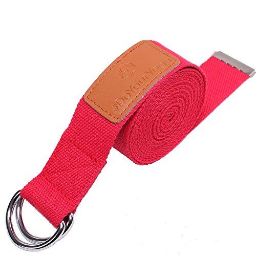 Sangle de yoga »Mathadi« / ceinture de yoga avec anneau de fermeture métallique stable / 300x 3,8 / rose