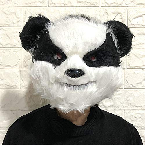 Panda Kostüm Gesicht - VAWAA Halloween Beängstigend Horror Blutige Tier Gesicht Muster Maske Bär Panda Kaninchen Wolf Kostüm Horror Latex Party Maske Erwachsene