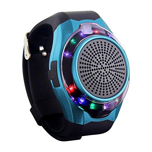 Joyeer Smart Watch Lautsprecher Blenden Licht mit sieben Farben Remote Kamera Wireless Stereo Subwoofer FM Radio Musik TF Karte Spielen Hands-free Call Anti-verloren Alarm Sport Watch , blue