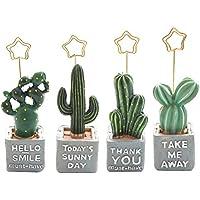Toyvian 4 unids Portafoto Pinzas Portanotas de Metal Soporte para Fotos con Cactus Numeros de Mesa para Fiesta Boda
