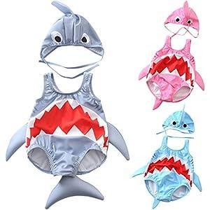 QinMMROPA bañador de con Forma de tiburón para niño bebé, Trajes de baño Gorra de baño bañador pañal bañador Body de… 2
