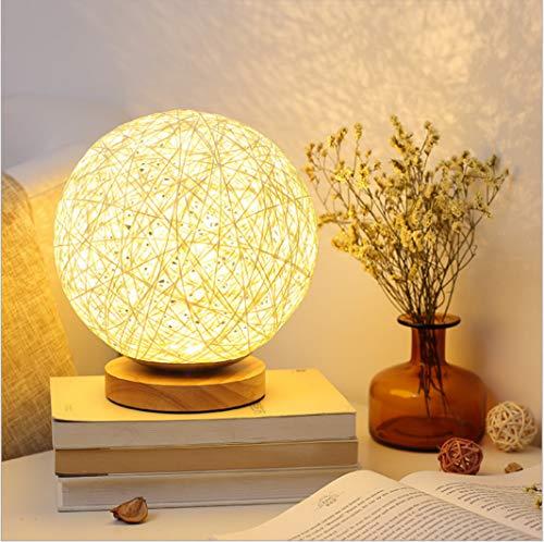 Dormitorio de regalo creativo lámpara de noche Nordic simple moderna led luz de la noche decoración bola de cáñamo hilo de mimbre lámpara de mesa