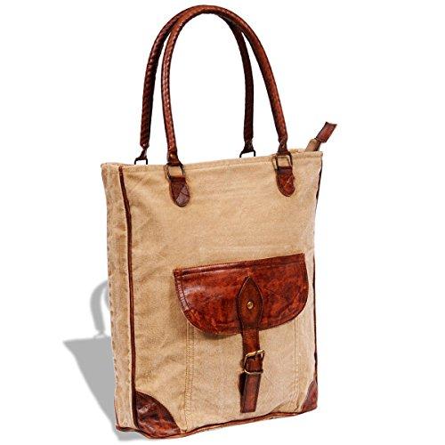 Preisvergleich Produktbild vidaXL Damen Tasche Echtleder Canvas Vintage Shopper Handtasche Schultertasche