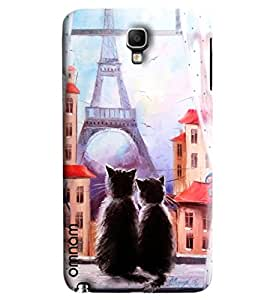 Omnam Two Cats Sitting In Front Of Eifil Tower Printed Designer Back Cover Case For Samsung Galaxy Note 3 Neo