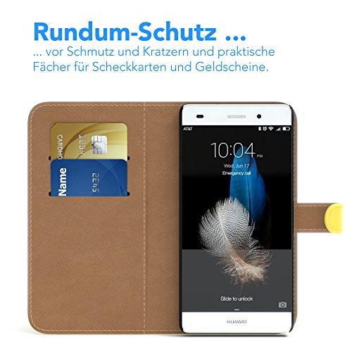Huawei P8 Lite (2015) Hülle - EAZY CASE Premium Flip Case Handyhülle - Schutzhülle in Braun Gelb (Book)