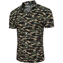 Camisa De Manga Corta Para Hombres T-Shirt Tops Con Botón Estilo Camuflaje Slim Fit Verde del ejército Camuflaje 2XL