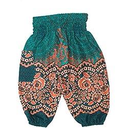 Lofbaz Niños Pantalones Harem Gypsy patrón del Rose Flower Hippy Verde Teal Talla 0-3M