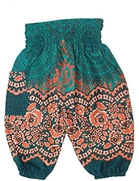 Lofbaz Bambino Pantaloni da Bambini Smocked Waist Boho Harem Aladdin