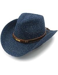 Wkae Sombrero de piel de vacuno con pajita de verano para mujer y hombre 1013b63c56c