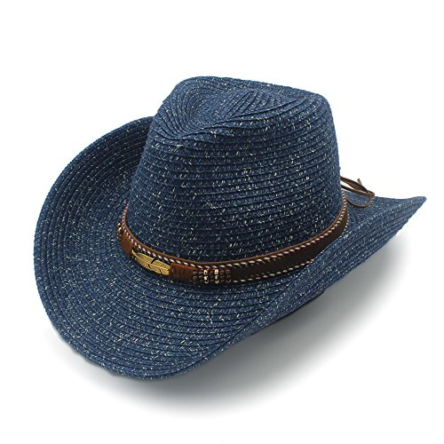 (CSNMALL Lady Stroh Cowboy-Hut mit Leder Hut Band Breiter Rand Atmungsaktiv und Bequem 3 Farben zur Auswahl (Farbe : 2, Größe : 57cm-59cm))