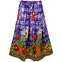 Mogul Interior Womens Retro Skirts Printed A-Line Flirty Bohemian Long Skirt (Purple)