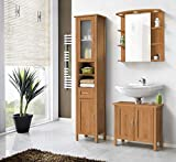 Galdem Lido Badmöbel-Set mit Spiegelschrank Waschbeckenunterschrank Hochschrank Seitenschrank Beleuchtung Steckdose Badezimmer Holz MDF honigfarben