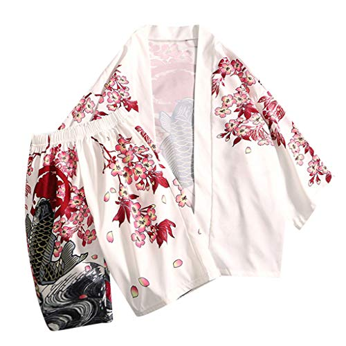 UINGKID Herren Jogginganzug Trainingsanzug Overall Jumpsuit Shirt Hose Fitness Mode-Liebhaber Individualität Print Top Bluse Kimono Hot Spring Kleidung Anzug (Shark Strampelanzug Erwachsene)