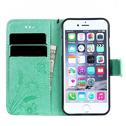 FESELE Custodia In Pelle Per iPhone 6s/iPhone 6, Retro Fiore farfalla Modello Design Cover Wallet Case Custodia In Pelle Portafoglio Lusso Libro Flip Cover Protettiva Con Cinturino Con Con Cinturino d farfalla,verde