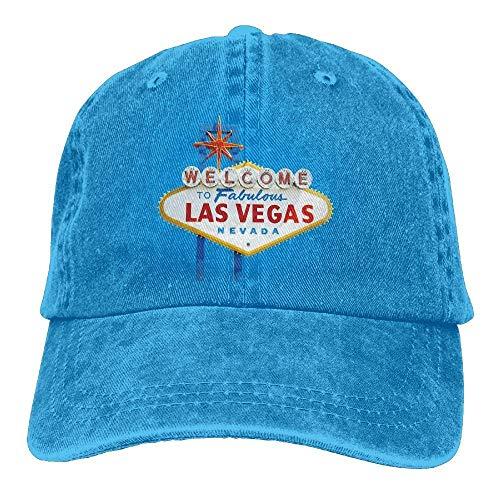 Hoswee Unisex Kappe/Baseballkappe, Welcome to LAS Vegas Trend Printing Cowboy Hat Fashion Baseball Cap for Men and Women Black