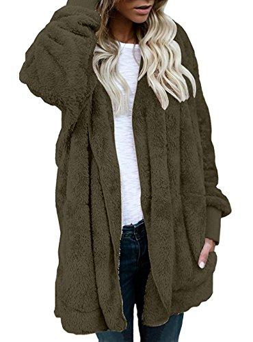 Shallgood Damen Mantel Plüschjacke Winter Winterjacke Steppjacke Warmen Outwear Cardigan Lange Ärmel Einfarbig Parka Sweatshirt Grün DE 42